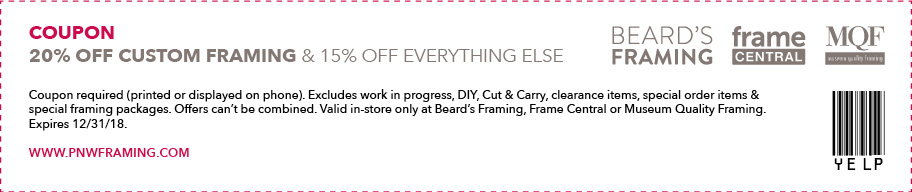 20% off custom framing, 15% off everything else. Exclusions apply.