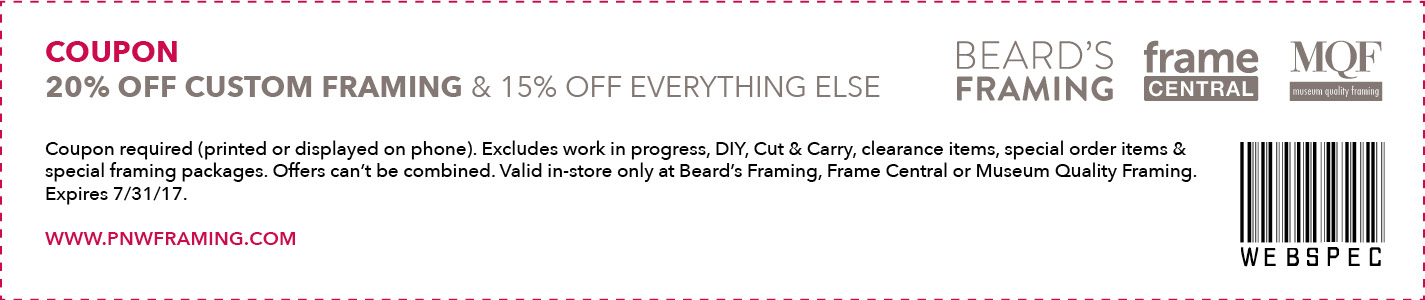 20% off custom framing, 15% off everything else. Excludes work in progress, special framing packages and DIY. Expires 7/31/17.