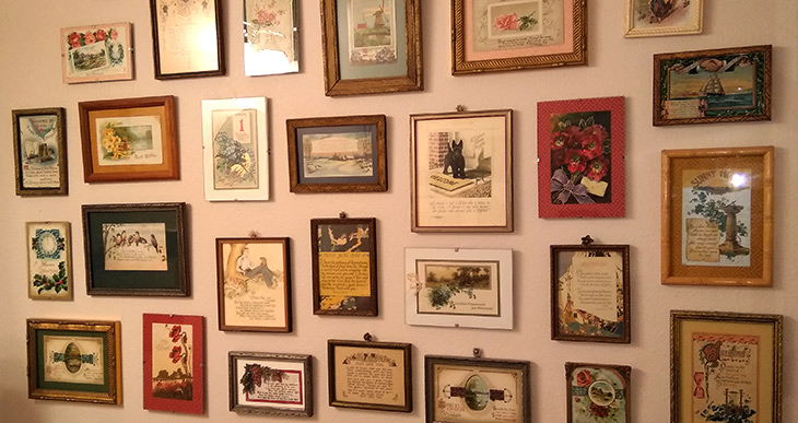 Vintage greeting cards - gallery wall