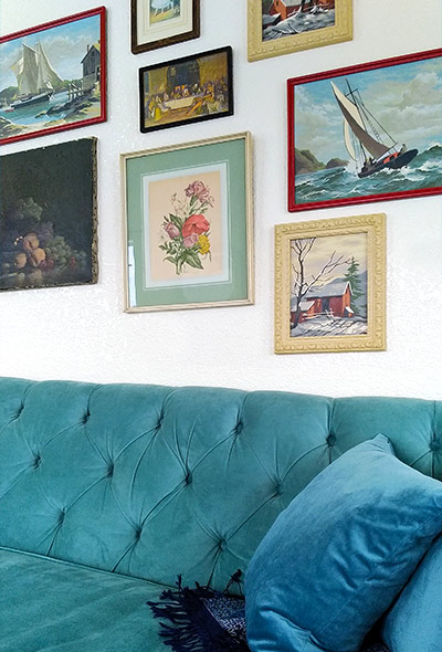 Gallery wall, vintage paint by numbers